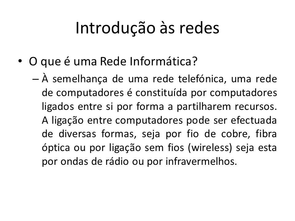 Introdução às redes • O que é uma Rede Informática.