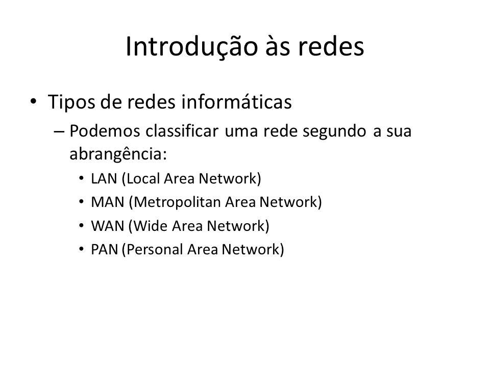 Introdução às redes • Tipos de redes informáticas – Podemos classificar uma rede segundo a sua abrangência: • LAN (Local Area Network) • MAN (Metropolitan Area Network) • WAN (Wide Area Network) • PAN (Personal Area Network)