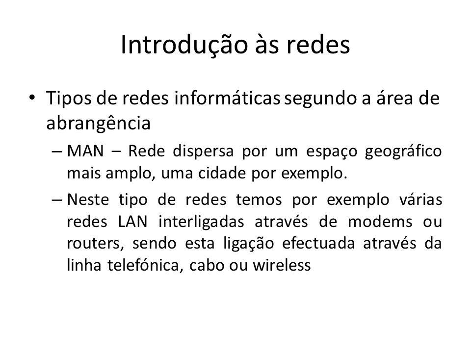 Introdução às redes • Tipos de redes informáticas segundo a área de abrangência – MAN – Rede dispersa por um espaço geográfico mais amplo, uma cidade por exemplo.