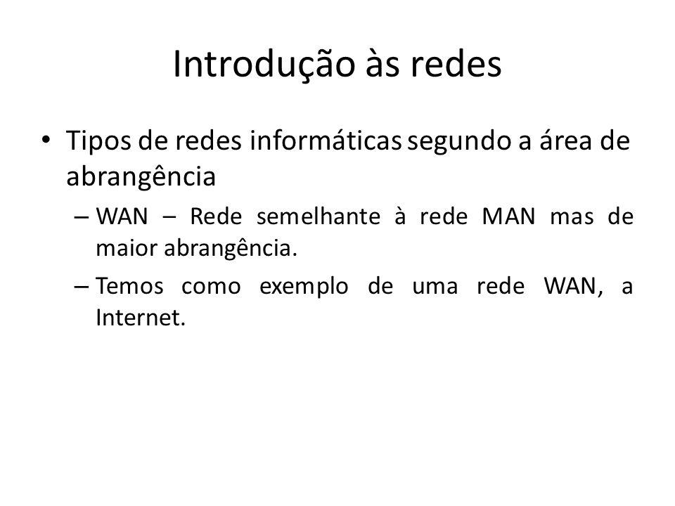 Introdução às redes • Tipos de redes informáticas segundo a área de abrangência – WAN – Rede semelhante à rede MAN mas de maior abrangência.