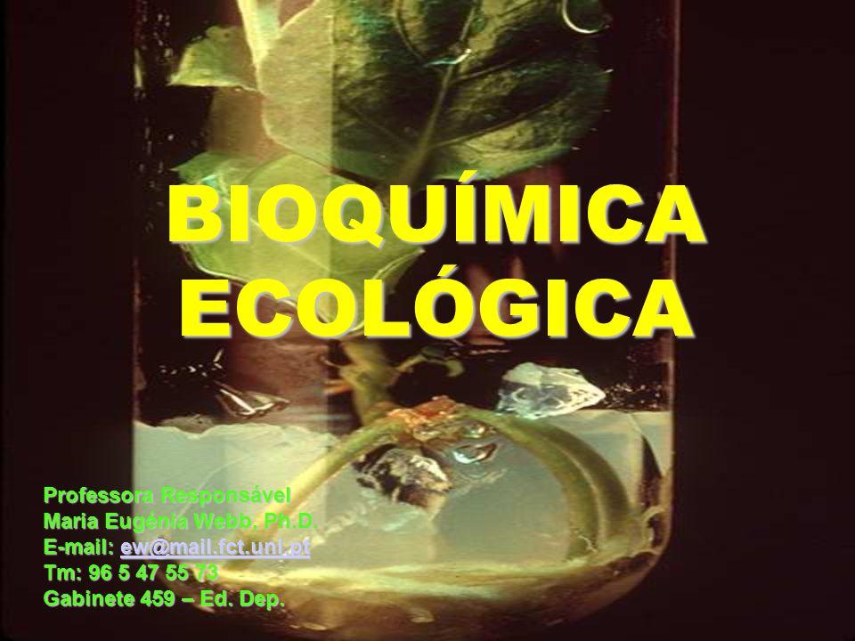 BIOQUÍMICA ECOLÓGICA Professora Responsável Maria Eugénia Webb, Ph.D. E-mail: ew@mail.fct.unl.pt ew@mail.fct.unl.pt Tm: 96 5 47 55 73 Gabinete 459 – E
