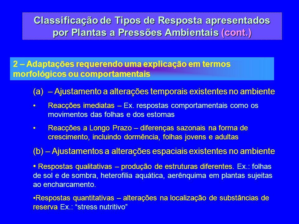 Classificação de Tipos de Resposta apresentados por Plantas a Pressões Ambientais (cont.) 2 – Adaptações requerendo uma explicação em termos morfológi