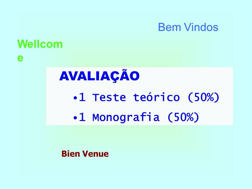 Bem Vindos Wellcom e Bien Venue AVALIAÇÃO •1 Teste teórico (50%) •1 Monografia (50%)