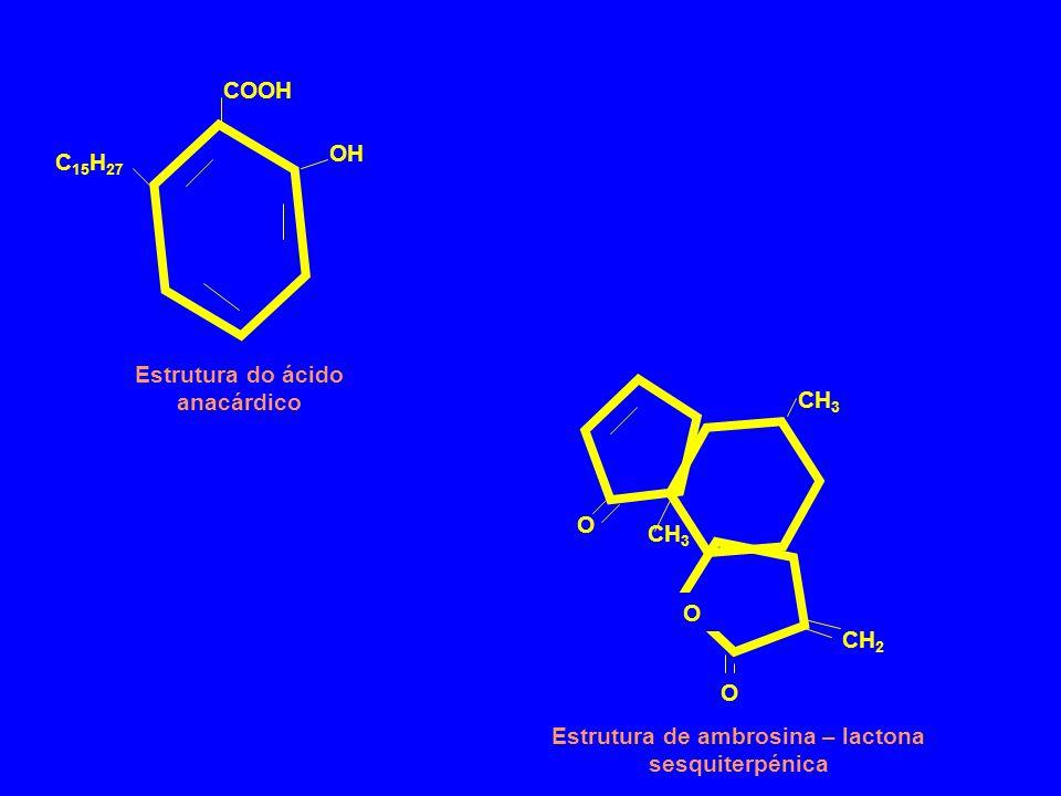 C 15 H 27 COOH OH Estrutura do ácido anacárdico O O CH 2 CH 3 O Estrutura de ambrosina – lactona sesquiterpénica
