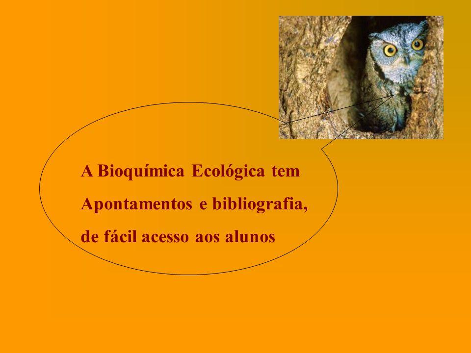 A Bioquímica Ecológica tem Apontamentos e bibliografia, de fácil acesso aos alunos