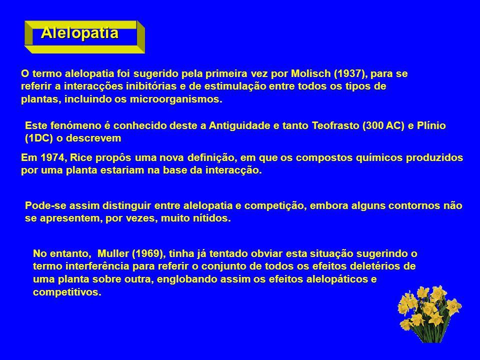 Alelopatia O termo alelopatia foi sugerido pela primeira vez por Molisch (1937), para se referir a interacções inibitórias e de estimulação entre todo
