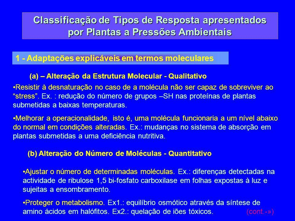 Classificação de Tipos de Resposta apresentados por Plantas a Pressões Ambientais 1 - Adaptações explicáveis em termos moleculares (a) – Alteração da