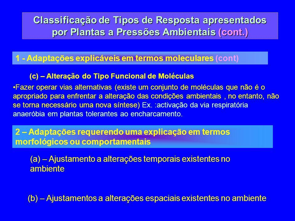 Classificação de Tipos de Resposta apresentados por Plantas a Pressões Ambientais (cont.) 1 - Adaptações explicáveis em termos moleculares (cont) (c)