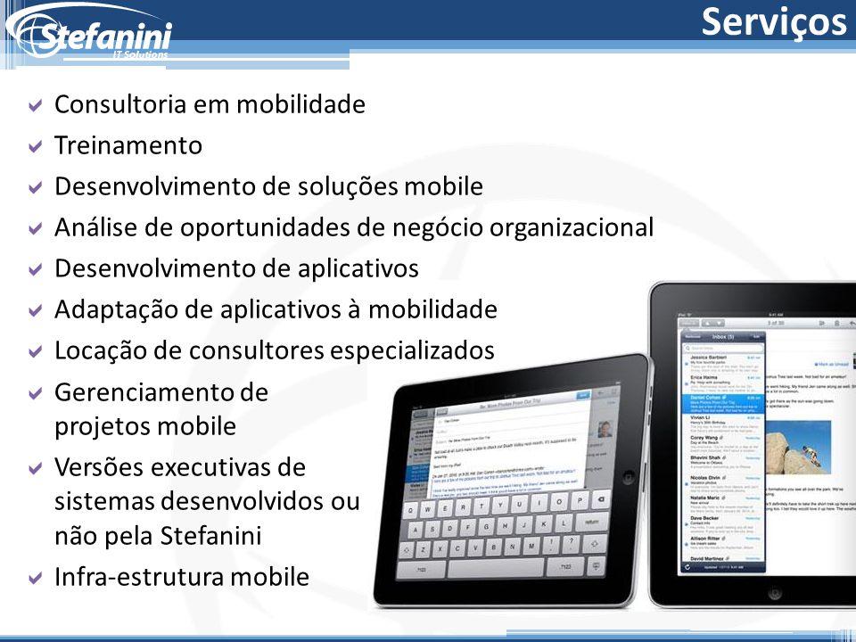 Serviços  Consultoria em mobilidade  Treinamento  Desenvolvimento de soluções mobile  Análise de oportunidades de negócio organizacional  Desenvo