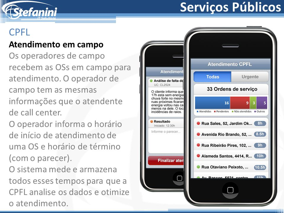 Serviços Públicos CPFL Atendimento em campo Os operadores de campo recebem as OSs em campo para atendimento.