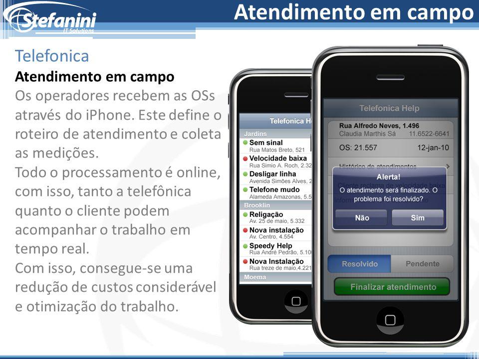 Atendimento em campo Telefonica Atendimento em campo Os operadores recebem as OSs através do iPhone. Este define o roteiro de atendimento e coleta as
