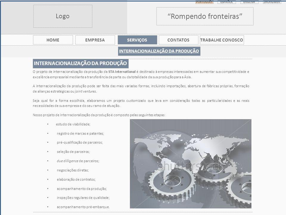 Logo Rompendo fronteiras PORTUGUÊS ESPAÑOL ENGLISHZHONGWEN HOMEEMPRESASERVIÇOSCONTATOSTRABALHE CONOSCO INTERNACIONALIZAÇÃO DA PRODUÇÃO O projeto de internacionalização da produção da STA International é destinado à empresas interessadas em aumentar sua competitividade e excelência empresarial mediante a transferência de parte ou da totalidade da sua produção para a Ásia.