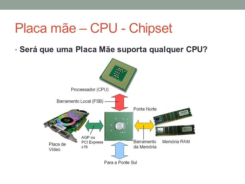 Placa mãe – CPU - Chipset • Será que uma Placa Mãe suporta qualquer CPU?