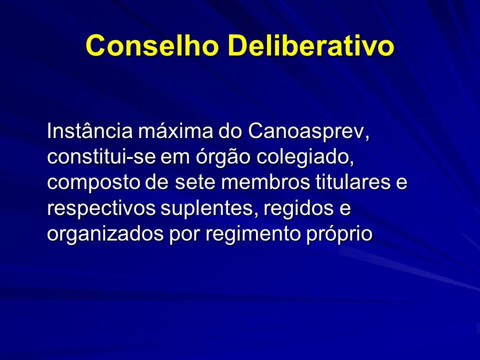 Conselho Deliberativo Instância máxima do Canoasprev, constitui-se em órgão colegiado, composto de sete membros titulares e respectivos suplentes, reg