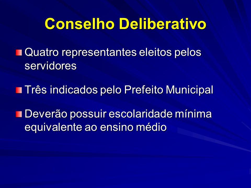 Conselho Deliberativo Quatro representantes eleitos pelos servidores Três indicados pelo Prefeito Municipal Deverão possuir escolaridade mínima equiva