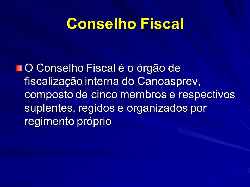 Conselho Fiscal O Conselho Fiscal é o órgão de fiscalização interna do Canoasprev, composto de cinco membros e respectivos suplentes, regidos e organi