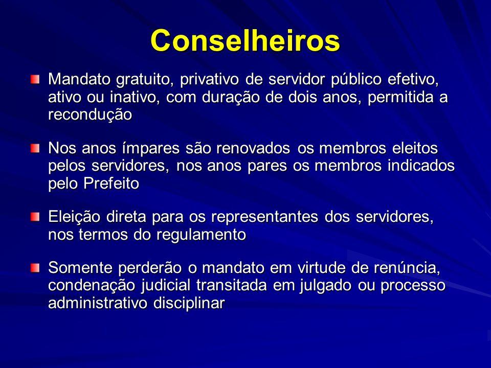 Conselheiros Mandato gratuito, privativo de servidor público efetivo, ativo ou inativo, com duração de dois anos, permitida a recondução Nos anos ímpa