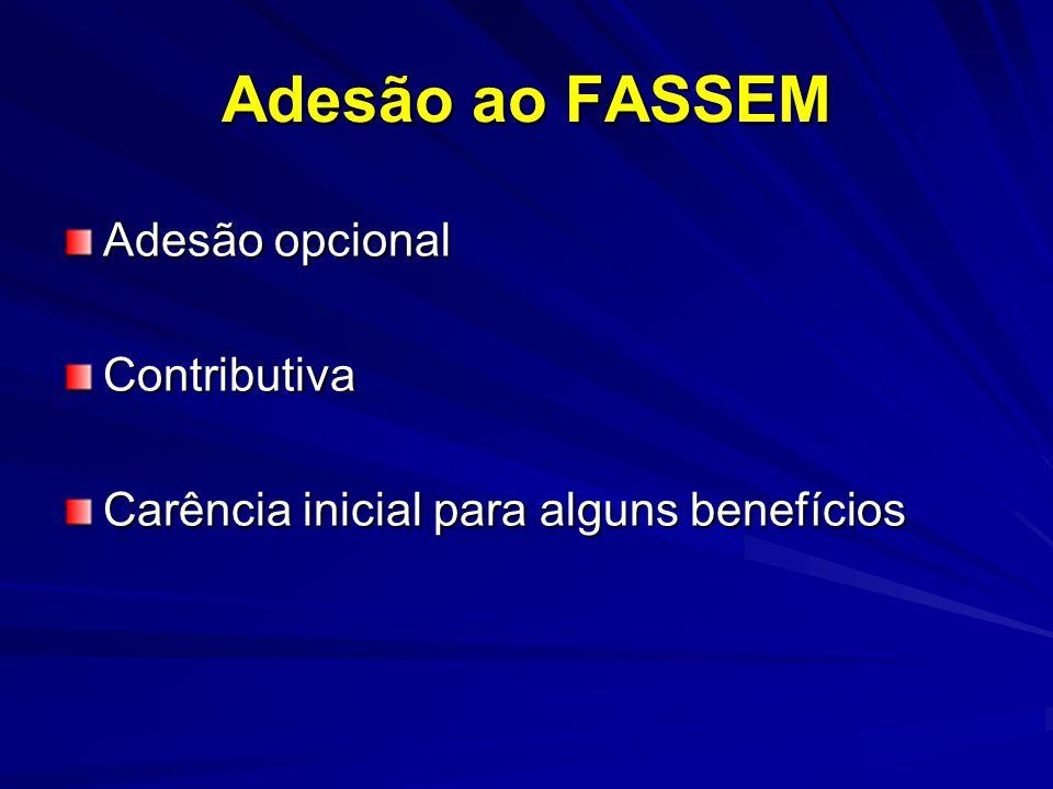 Adesão ao FASSEM Adesão opcional Contributiva Carência inicial para alguns benefícios
