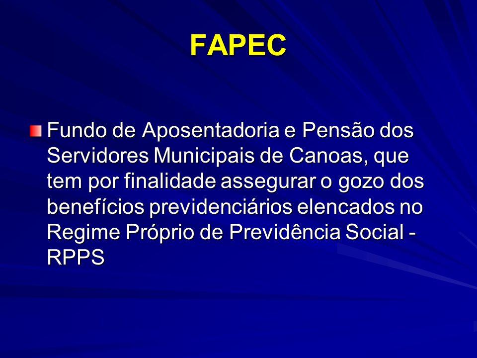 FAPEC Fundo de Aposentadoria e Pensão dos Servidores Municipais de Canoas, que tem por finalidade assegurar o gozo dos benefícios previdenciários elen