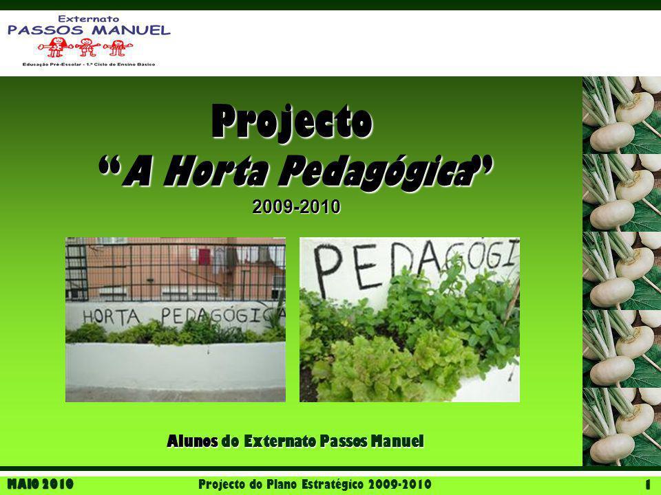 "MAIO 2010 Projecto do Plano Estratégico 2009-2010 1 ""A Horta Pedagógica"" 2009-2010 Projecto Alunos do Externato Passos Manuel"