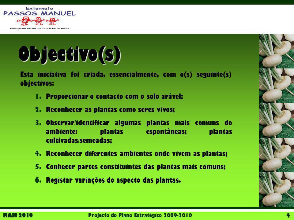 MAIO 2010 Projecto do Plano Estratégico 2009-2010 4 Objectivo(s) Esta iniciativa foi criada, essencialmente, com o(s) seguinte(s) objectivos: 1.Propor