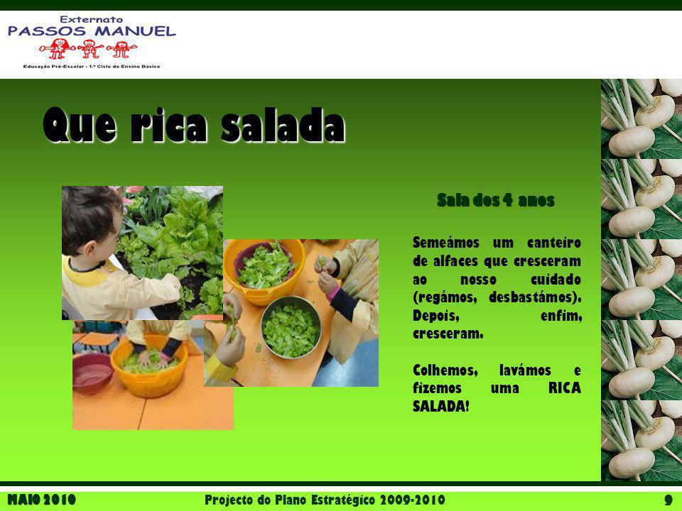 MAIO 2010 Projecto do Plano Estratégico 2009-2010 9 Que rica salada Sala dos 4 anos Semeámos um canteiro de alfaces que cresceram ao nosso cuidado (re