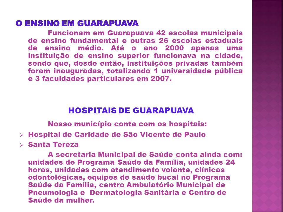 Funcionam em Guarapuava 42 escolas municipais de ensino fundamental e outras 26 escolas estaduais de ensino médio.