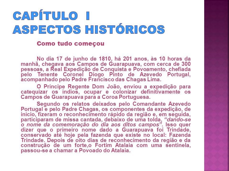 Como tudo começou No dia 17 de junho de 1810, há 201 anos, às 10 horas da manhã, chegava aos Campos de Guarapuava, com cerca de 300 pessoas, a Real Expedição de Conquista e Povoamento, chefiada pelo Tenente Coronel Diogo Pinto de Azevedo Portugal, acompanhado pelo Padre Francisco das Chagas Lima.