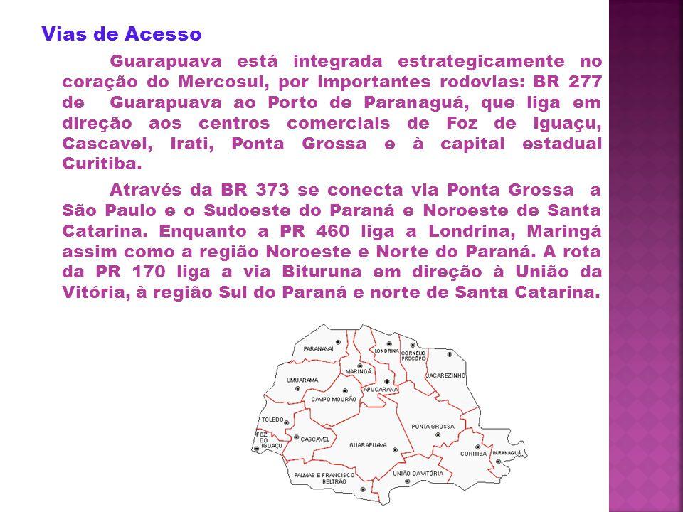 Vias de Acesso Guarapuava está integrada estrategicamente no coração do Mercosul, por importantes rodovias: BR 277 de Guarapuava ao Porto de Paranaguá, que liga em direção aos centros comerciais de Foz de Iguaçu, Cascavel, Irati, Ponta Grossa e à capital estadual Curitiba.