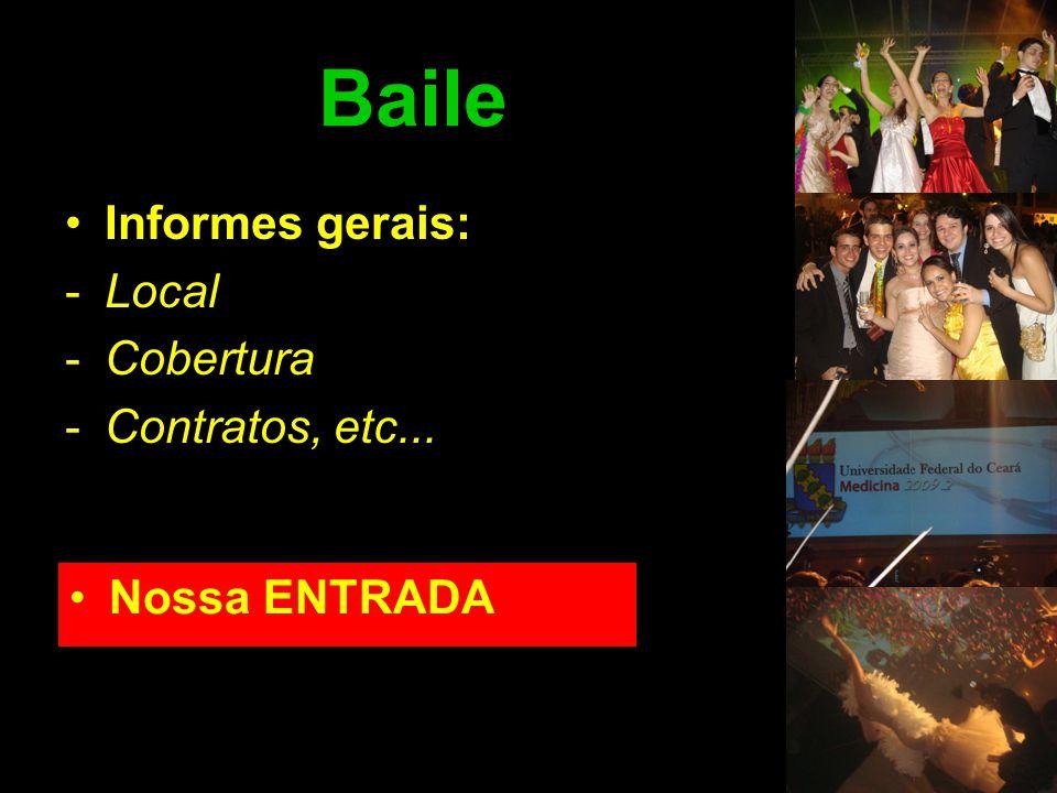 Baile •Informes gerais: -Local -Cobertura -Contratos, etc... •Nossa ENTRADA
