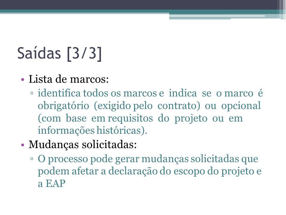 Saídas [3/3] •Lista de marcos: ▫identifica todos os marcos e indica se o marco é obrigatório (exigido pelo contrato) ou opcional (com base em requisitos do projeto ou em informações históricas).