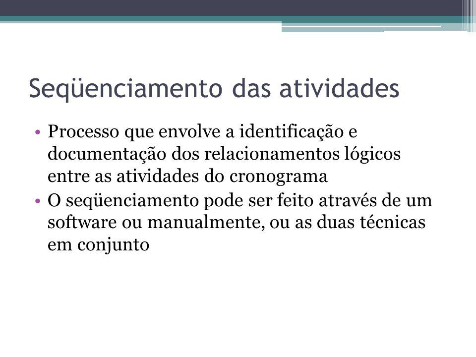 Seqüenciamento das atividades •Processo que envolve a identificação e documentação dos relacionamentos lógicos entre as atividades do cronograma •O seqüenciamento pode ser feito através de um software ou manualmente, ou as duas técnicas em conjunto