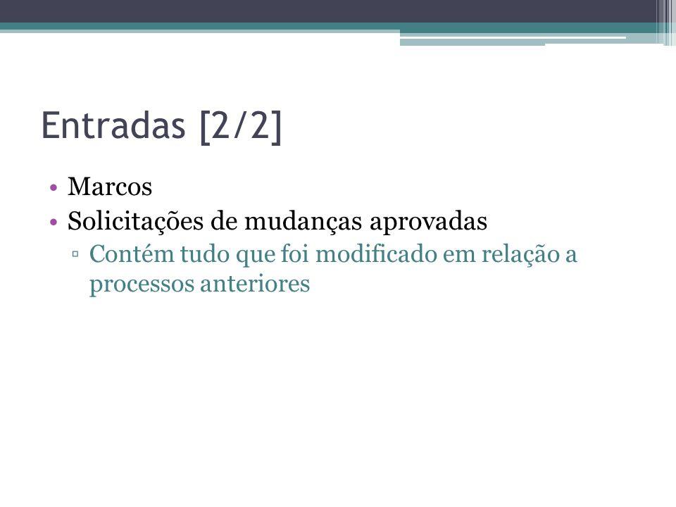 Entradas [2/2] •Marcos •Solicitações de mudanças aprovadas ▫Contém tudo que foi modificado em relação a processos anteriores