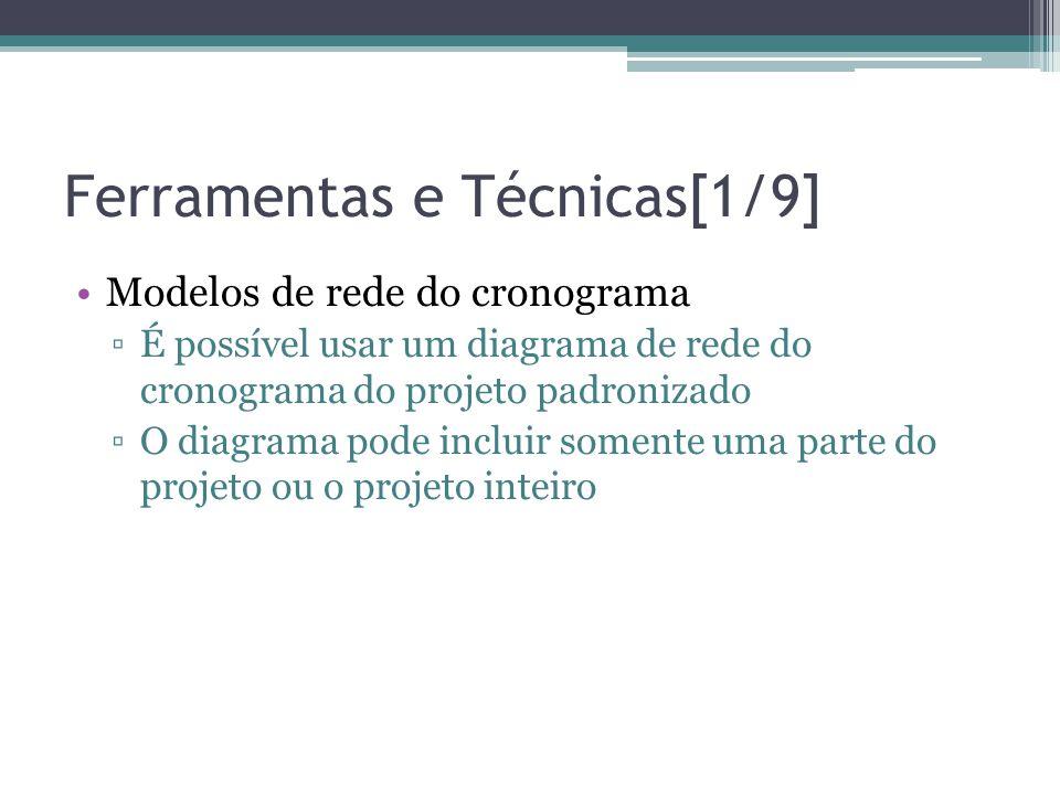 Ferramentas e Técnicas[1/9] •Modelos de rede do cronograma ▫É possível usar um diagrama de rede do cronograma do projeto padronizado ▫O diagrama pode incluir somente uma parte do projeto ou o projeto inteiro