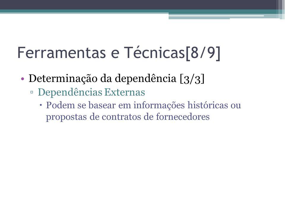 Ferramentas e Técnicas[8/9] •Determinação da dependência [3/3] ▫Dependências Externas  Podem se basear em informações históricas ou propostas de contratos de fornecedores