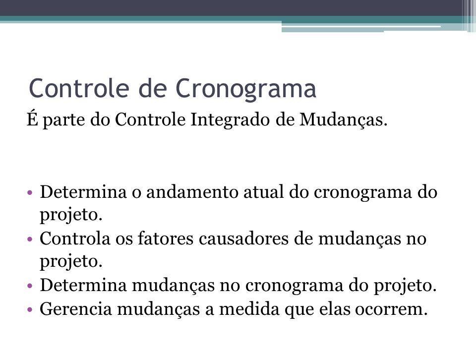 Controle de Cronograma É parte do Controle Integrado de Mudanças.