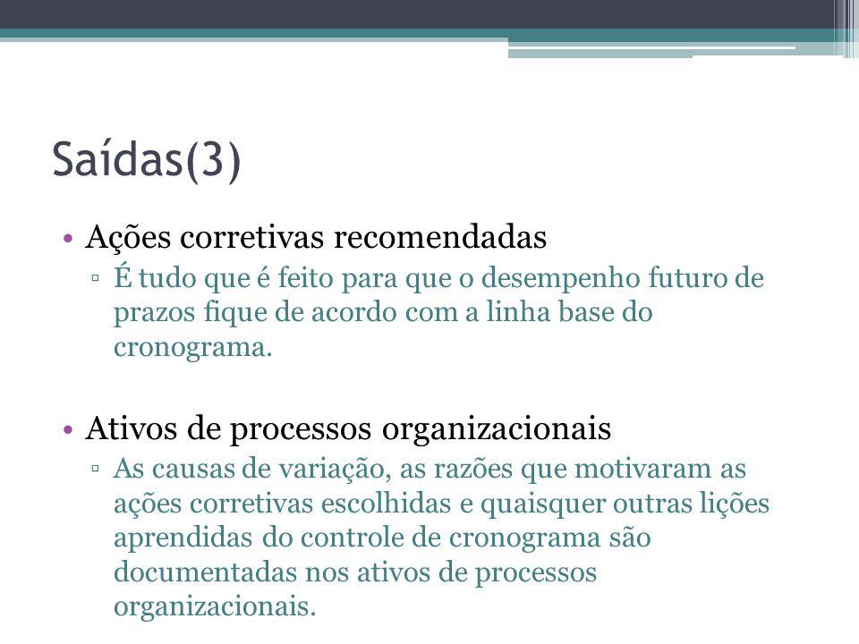 Saídas(3) •Ações corretivas recomendadas ▫É tudo que é feito para que o desempenho futuro de prazos fique de acordo com a linha base do cronograma.