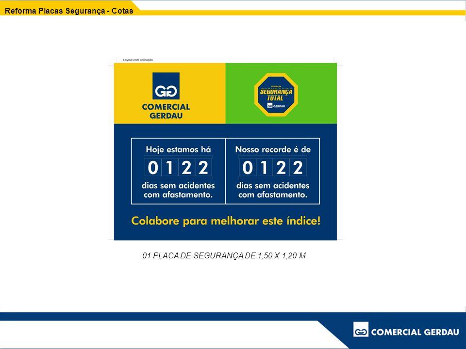 Reforma Placas Segurança - Cotas 01 PLACA DE SEGURANÇA DE 1,50 X 1,20 M