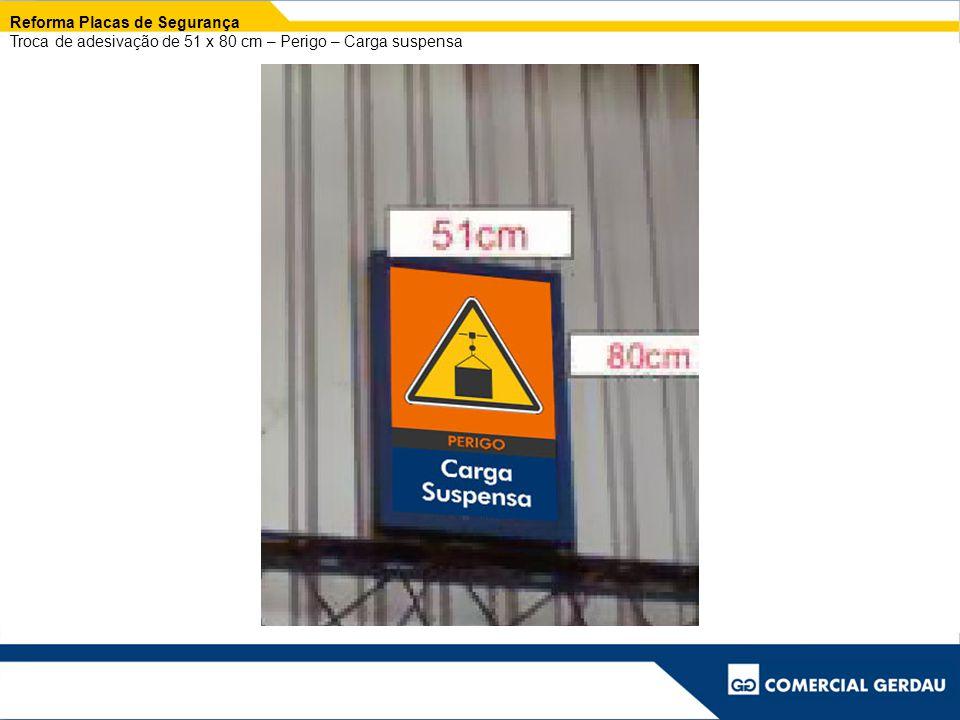 Reforma Placas de Segurança Troca de adesivação de 51 x 80 cm – Perigo – Carga suspensa