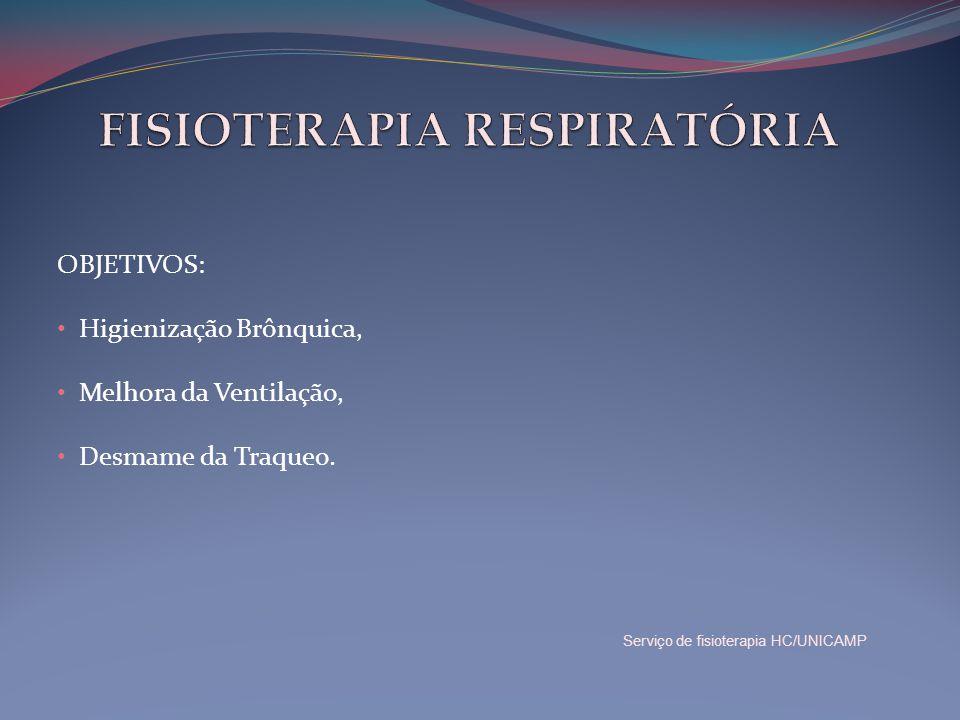 OBJETIVOS: • Higienização Brônquica, • Melhora da Ventilação, • Desmame da Traqueo. Serviço de fisioterapia HC/UNICAMP