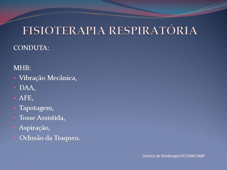 CONDUTA: MHB: • Vibração Mecânica, • DAA, • AFE, • Tapotagem, • Tosse Assistida, • Aspiração, • Oclusão da Traqueo. Serviço de fisioterapia HC/UNICAMP