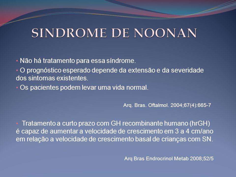 • Não há tratamento para essa síndrome. • O prognóstico esperado depende da extensão e da severidade dos sintomas existentes. • Os pacientes podem lev
