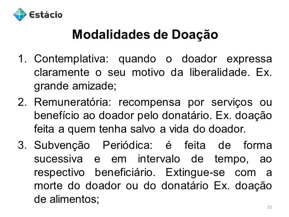 Modalidades de Doação 10 1.Contemplativa: quando o doador expressa claramente o seu motivo da liberalidade.