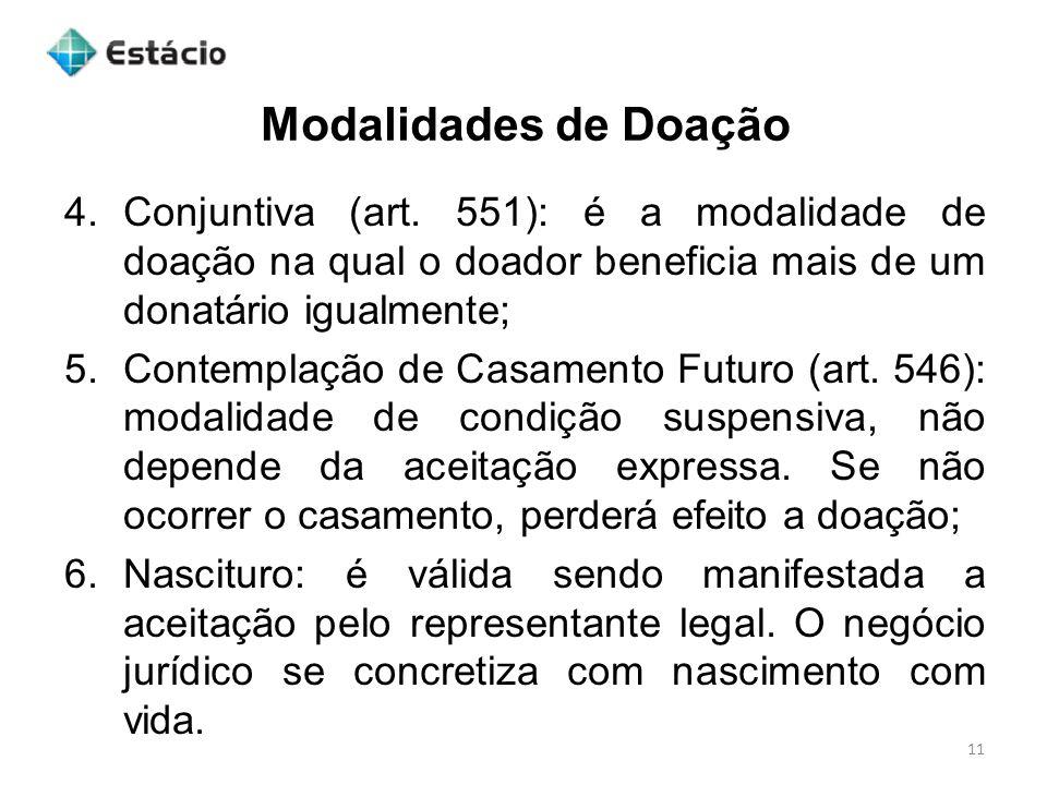 Modalidades de Doação 11 4.Conjuntiva (art.