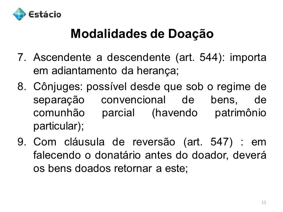 Modalidades de Doação 12 7.Ascendente a descendente (art.