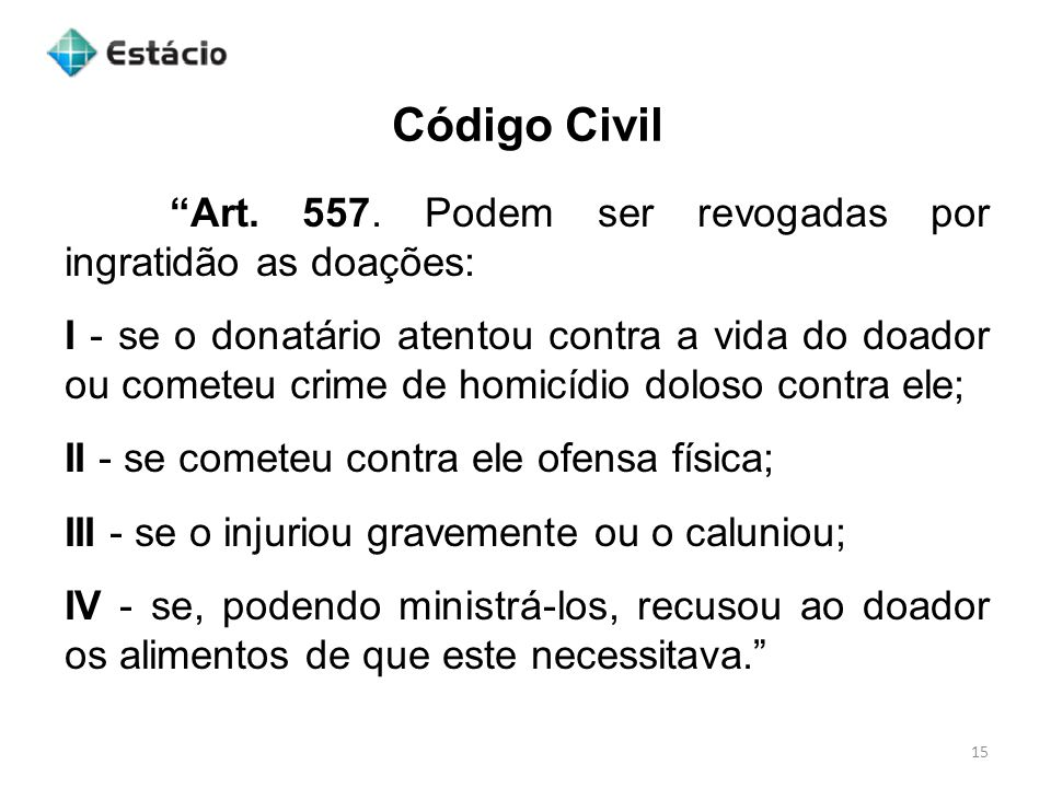 Código Civil 16 Art.562.