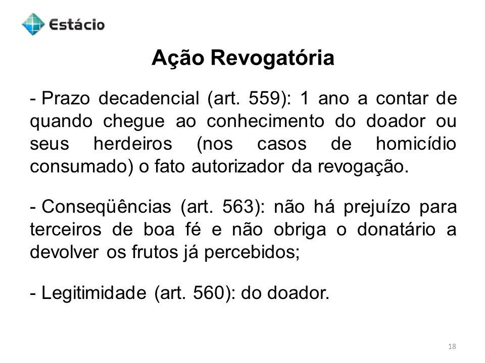 Ação Revogatória 18 - Prazo decadencial (art.