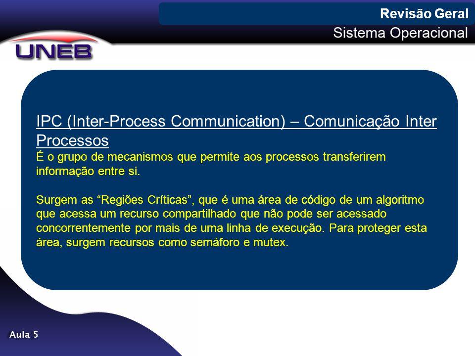 IPC (Inter-Process Communication) – Comunicação Inter Processos É o grupo de mecanismos que permite aos processos transferirem informação entre si. Su