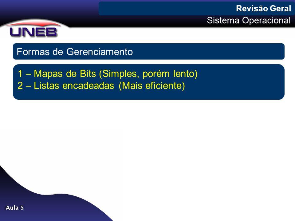 Formas de Gerenciamento 1 – Mapas de Bits (Simples, porém lento) 2 – Listas encadeadas (Mais eficiente)