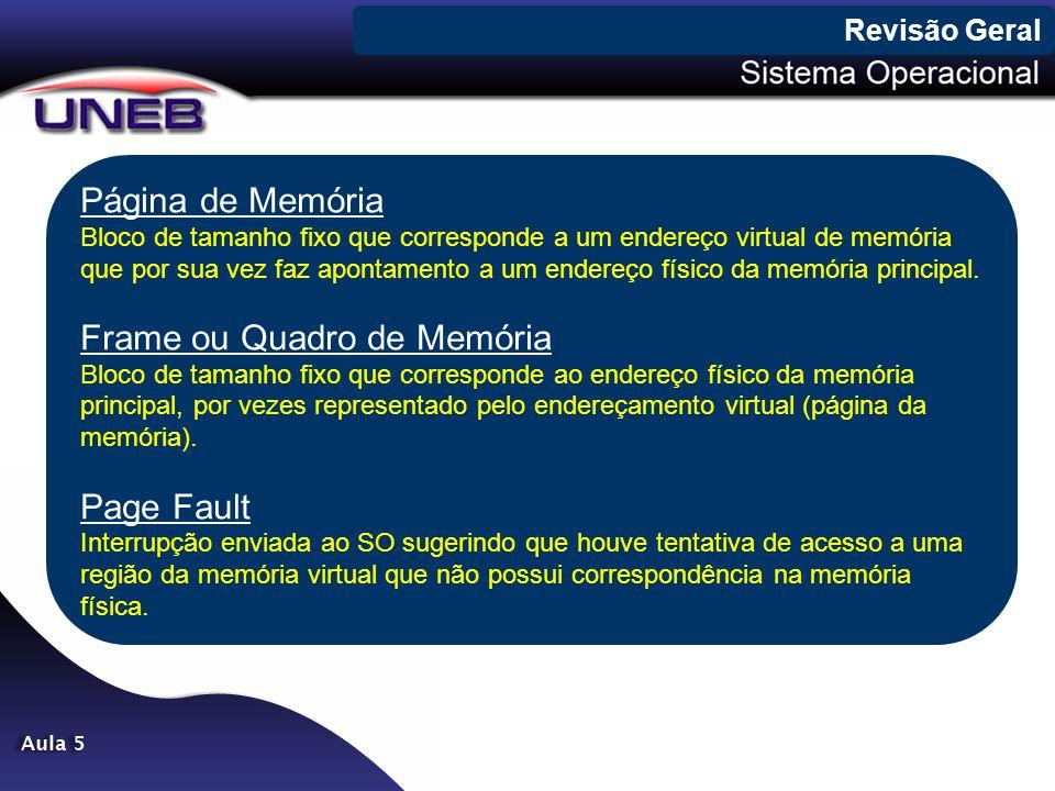Página de Memória Bloco de tamanho fixo que corresponde a um endereço virtual de memória que por sua vez faz apontamento a um endereço físico da memór